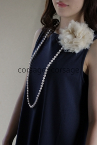 Cottonpearl Long Necklace/corsage*corsage
