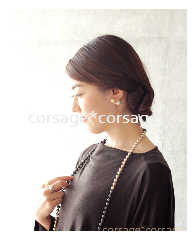 CottonPearl 3tone Necklace/corsage*corsage