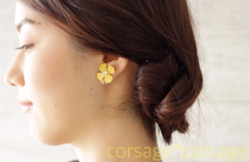 Leather×Swarovski Pierce&Earring/corsage*corsage
